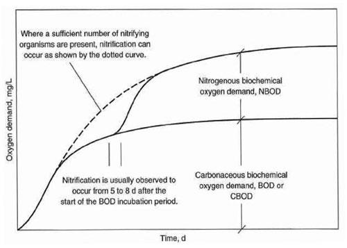 شکل1. تغییرات مشخصات بیولوژیکی CBOD و NBOD در نمونه فاضلاب